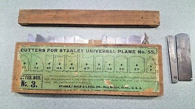 Cutter Box No 3 With 11 Cutters Stanley No 55 Combination Plane Lid NICE slitter