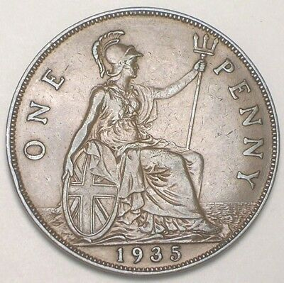 1935 UK Great Britain British One 1 Penny King George V Coin XF
