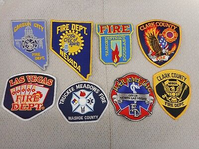 8 different Nevada fire department patches