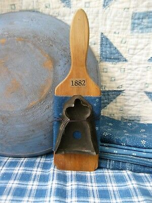 Antique Butter Paddle Wrapped w 1890s Blue Calico w Early Tin Lady Cookie Cutter