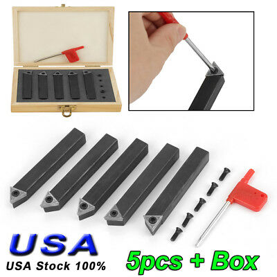 "5Pcs 1/2"" Metal Lathe Tooling Carbide Tip Tipped Cutter Tool C6 Bit Cutting Set"