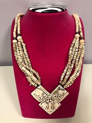 NATIVE TRIBAL STYLE NECKLACE.. ELEPHANTS Multiple Strands NATURAL