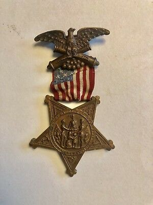 Nice Civil War G.a.r. Veteran's Medal Numbered With Ribbon 1886