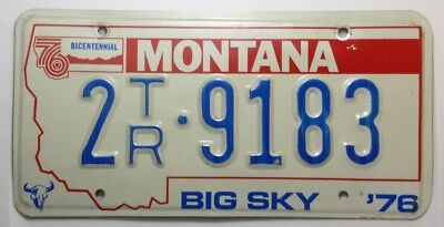 1976 Montana Bicentennial Embossed License Plate  # 2TR - 9183