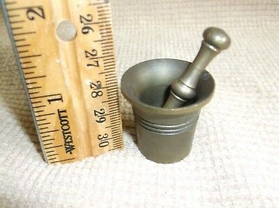 """antique bronze very small mortar and pestle, 1"""", teeny-tiny!, sweet gift!"""