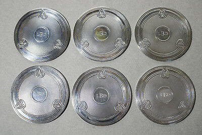 Set 6 Christofle French Silver Plate Arts & Crafts Design Coasters Monogrammed