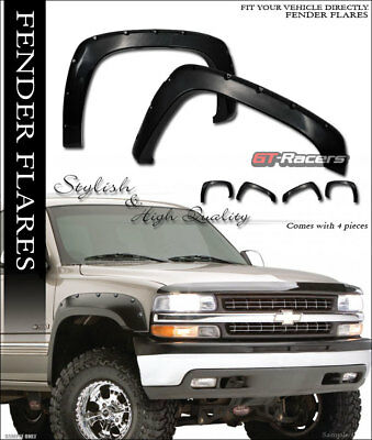 For 1999-2007 Chevy Silverado/GMC Sierra Black Pocket Rivet Style Fender Flares