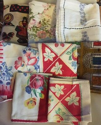 Lot Of 3 Vintage Table Cloths  & 5 Dish Towels Linens