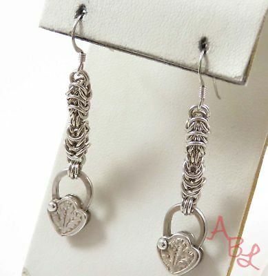 Sterling Silver 925 Byzantine & Pad Lock Drop/ Dangle Earrings (8.4g) - 742440