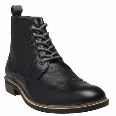 New Mens Lotus Black Aldridge Leather Boots Lace Up