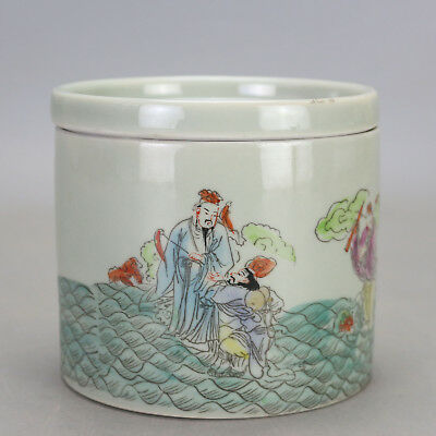 Chinese old famille rose porcelain  the Eight Immortals pattern Cricket cans c01