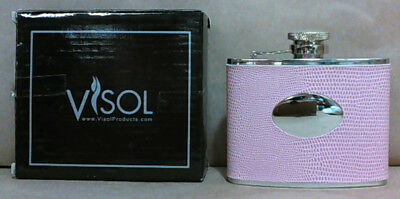 NEW Visol 4oz Synthetic Wrapped Stainless Steel Flask, Lizard Skin Pattern, Pink