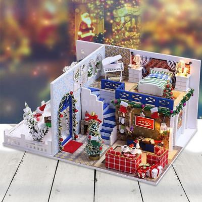 Miniature Wooden Dollhouse DIY Kit Doll House Kids Xmas Gift Blue Christmas H6I8
