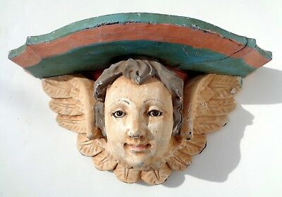 Antique Painted Carved Wood Baby Angel Cherub Wall Shelf With Glass Eyes.