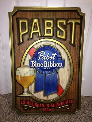 """Vintage 60's/70's PBR Pabst Blue Ribbon Beer Large 29"""" by 19"""" Wall Sign"""