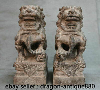 "9.6"" Old Chinese Stone Dynasty Palace Feng Shui Foo Dog Lion Sculpture Pair"