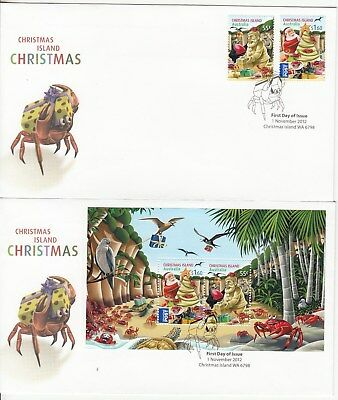 2013 Xmas.Isld.Christmas set + M/Sheet on 2 first day covers.Going cheap