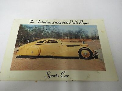 The Fabulous $100,00 Rolls Royce Sports Car PostCard