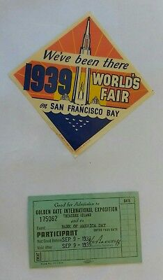 1939 World's Fair San Francisco CA Decal & Admission Ticket Bank of America Day