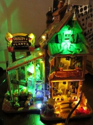 Lemax Spooky Town Grisley Greenhouse Little Shop Horrors Halloween House musical