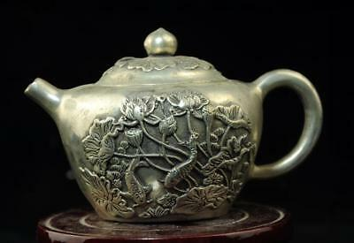 chinese old  copper-plating silver hand engraving teapot/xuande mark  d02