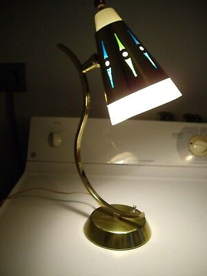 Vintage Mid Century Desk Table Lamp Retro Light Cone color inserts Lightcraft CA