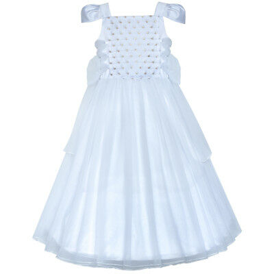 Flower Girls Dress White Sparkling Corset Pageant Vintage Size 6-12 Formal Party