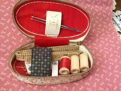 Vintage Travel Sewing Kit  Zippered Tapestry Fabric Case