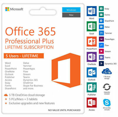 INSTANT Microsoft Office 365 2016 Lifetime License For 5 Devices With 5 TB ESD
