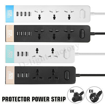 3 Outlet 4 USB Port Charger Safety Surge Protector EU/UK Plug Power Strip Socket