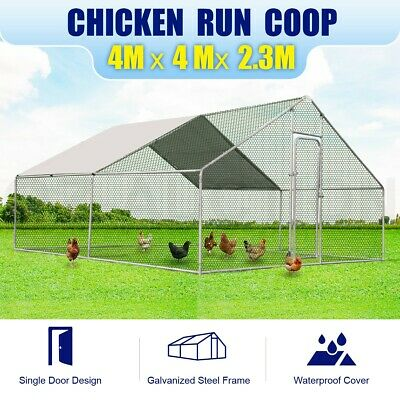 New Large Chicken Coop Metal Guinea Pig House Rabbit Hutch Outdoor Cage