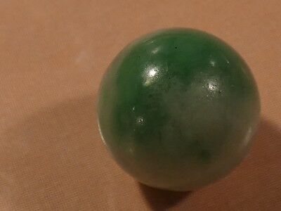 Antique Chinese Apple Green Hues Jade Necklace Bead 9.3 Mm Wide Gorgeous Green