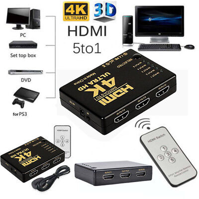 1080p 5 Port 4K HDMI Switch Switcher Selector Splitter Hub+IR Remote For HDTV