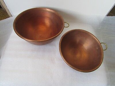 Pair VTG Heavy Gauge Copper Mixing Bowl Whip Cream Candy egg white brass ring