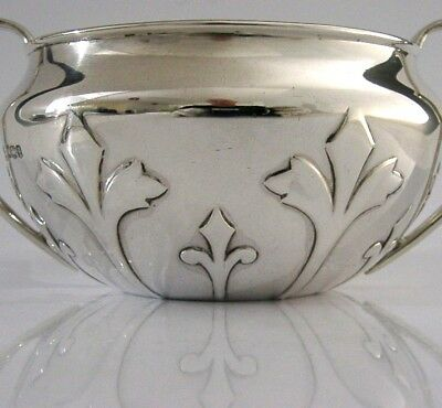 STUNNING ENGLISH SOLID SILVER ARTS AND CRAFTS BOWL 1933 150g fleur-de-lis