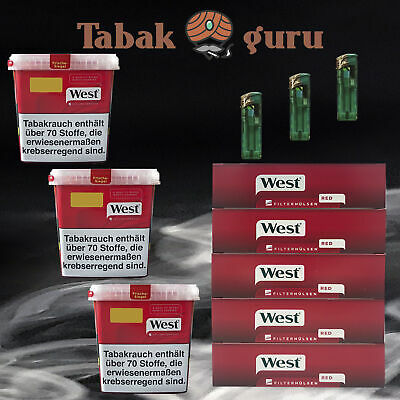3 x West Tabak / Volumentabak Mega Box 290 g, West Rot Hülsen, Feuerzeuge