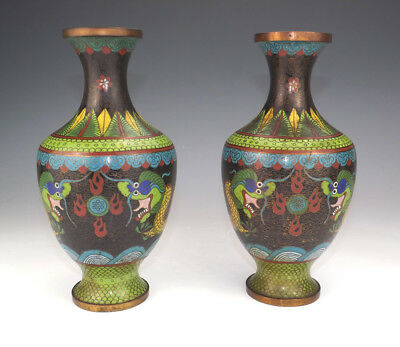 Antique Pair Of Chinese Cloisonne Enamel - Oriental Dragon Decorated Vases