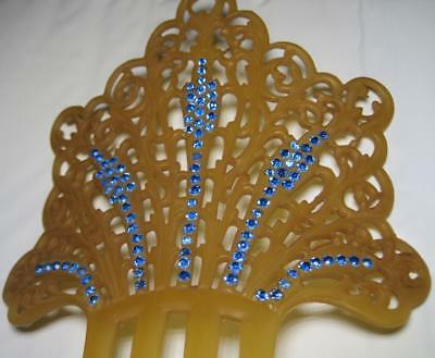 Stunning ART DECO Celluloid and Blue Rhinestone Hair Comb ornament large