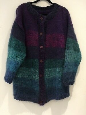 Vintage 80's Handmade Purple Pink Teal Green Stripe Over Size Mohair Cardigan
