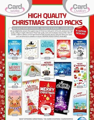 TODAY ONLY! 31p! 300 packs of CHRISTMAS CELLO PACKS. 8 cards per pack,15 designs