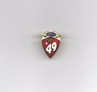 "1949 ""Ford for '49"" Jeweled and Enameled Automobile Advertising Lapel Pin"