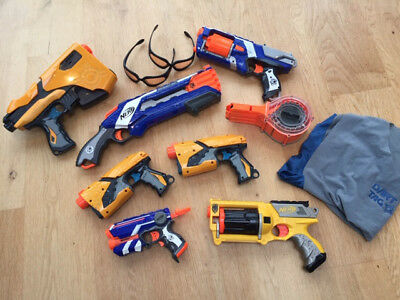 Nerf guns bundle with 2 pairs of protective glasses and one vest