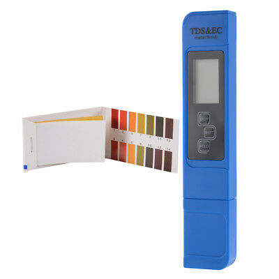 Digital 3-in-1 EC TDS Temperature Meter Tester Pen with 0-14 PH Test Paper TH933