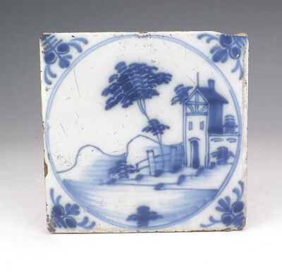 Antique Dutch Delft Tin Glazed Coastal Scene Tile - Early!