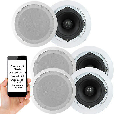 "QUALITY Low Profile Ceiling Speakers – 6.5"" 120W 16 Ohm – Slim Mount HiFi Amp"
