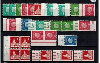 Berlin Lot aus 182 - 185 + 187 VB. OPR, UR, SR ** Dr. Theodor Heuss
