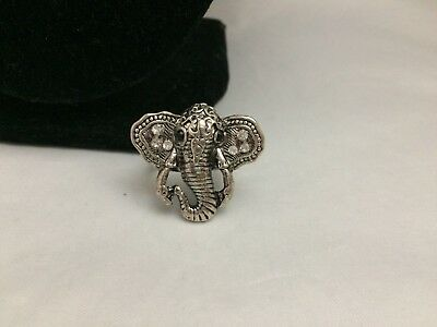 Pretty Clear & Black Rhinestone Silver Tone African Elephant Ring~7.5