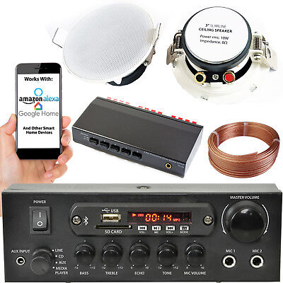 Bluetooth Ceiling Music Kits -Pro Amp & Low Profile Speakers- Stereo HiFi Sound