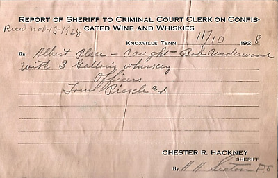 1928 Report Sheriff Confiscated Whiskies Moonshine Place Underwood Knoxville Tn