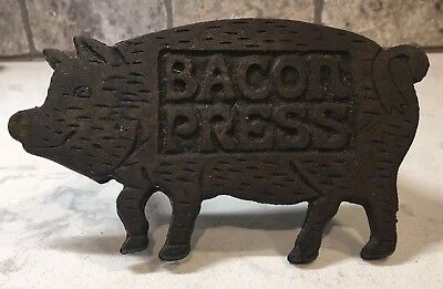Antique Vintage Cast Iron Pig Shaped Bacon Press Wood Handle